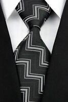 PRICED TO CLEAR! Mens Classic Zig Zag Pattern Silk Necktie Formal Tie Black Grey