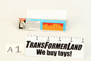 Prowl Tech Specs Action Masters 1990 Vintage Hasbro G1 Transformers