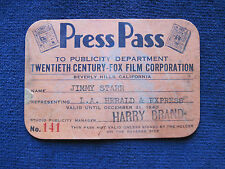 ORIGINAL 1940 20th CENTURY-FOX STUDIO PASS for Hollywood Columnist JIMMY STARR