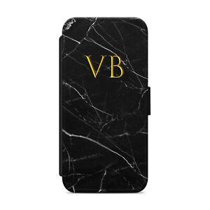 Personalised Initials Custom Black Marble WALLET FLIP PHONE CASE COVER
