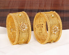 Indian Fashion Women Gold Plated Kundan Kangan Set Bangle Bracelets Set Jewelry