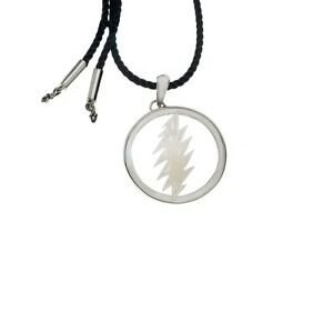 13 Point Lightening Bolt Sterling Silver Mother Of Pearl Cord Necklace