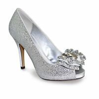 "Lunar Rhoda Womens Size 3 4 5 6 Slim Peep Toe 4"" Heels Sleek / Classy New Silver"