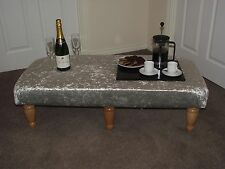 xxl foot stool silver crushed velvet coffee table footstool light turned legs uk