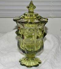Green Vintage Viking Glass Majestic Paneled Covered Candy Dish