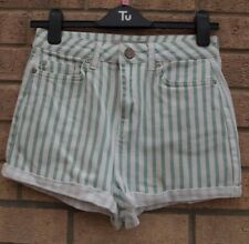 TOPSHOP GREEN WHITE STRIPED DENIM JEANS TURN UP HOT PANTS SHORTS 8 10 S