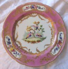 Sevres porcelaine antique plaque Oiseaux & floral doré rose 1751 ou 1752 24 cm RARE