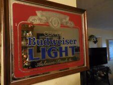 Vintage CERVEZA BUDWEISER LIGHT Glass Mirror Beer Sign 801-204 1982 RARE