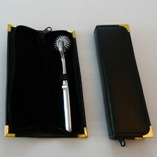 Polished metal double head pinwheel & leather case OT-23, Free UK Delivery