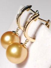 11.6mm South Sea golden pearl dangle earrings,diamonds,solid 14k white gold.