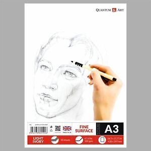 A3 Blocco da Disegno Dipinto Artista Carta Gommata Libro - 50 Fogli - 100