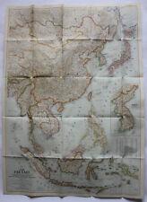 Vintage 1952 FAR EAST ASIA CHINA HONG KONG Large Color MAP