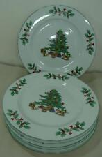 "1998 SET OF 7 NOEL DINNER PLATES 10"" CHRISTMAS TREE W/GIFTS, DECORATIONS & HOLLY"