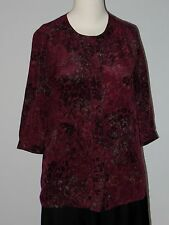 BANANA REPUBLIC Size 2 Petites Maroon 100% Silk 3/4 Sleeve Button Down Blouse