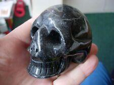 Crystal skull garnet in black quartz