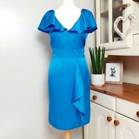 MARKS & SPENCERS M&S (UK Size 12) Silk Blue Draped Satin Midi Dress Short Sleeve