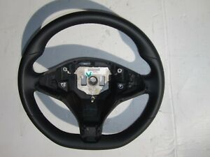 Tesla Model S X OEM Nice Black Leather Steering Wheel Flat Bottom No Heat