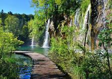 Vlies Fototapete Tapete Poster   F13512 Brücke Brücke Natur Wasserfall Pflanzen