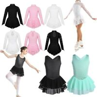 Girls Ice Skating Ballet Dance Dress Kids Gymnastics Costumes Leotard Tutu Skirt