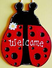 LADYBUG WELCOME SIGN Wall  Door Hanging Hanger Plaque Summer Spring Wood Decor
