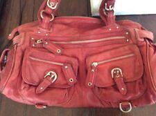 junior drake real distressed red leather handbag