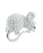 Clear Mouse Rhinestone Pin with Silver Tones Brooch Broach