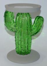 BATH & BODY WORKS GREEN GLASS CACTUS PEDESTAL LARGE CANDLE HOLDER SLEEVE 14.5OZ