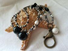 Beaded Lanyard ID Badge Holder Pearl Wire Black Copper Bead CUSTOM OOAK