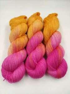 Handgefärbte Sockenwolle 4 fach 100 g - ORANGE DRACHENFRUCHT  5474