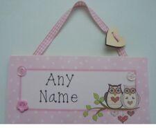 Owls Personalised Childrens Kids Door plaque Sign Childs Handmade