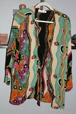 Anthony Mark Hankins Jacket Top Sz 1X Duster Jacket - Bright Abstract Design
