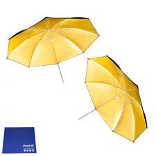"Phot-R 2x 43"" Black & Gold Studio Reflector Collapsible Umbrella Chamois Cloth"