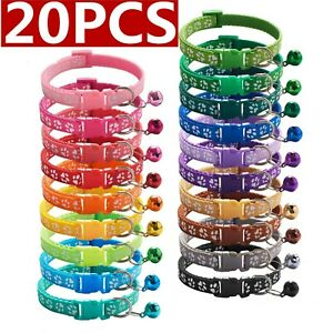 20PCS Lot of Wholesale Dog Collar Adjustable Buckle Collar W/ Bell Small Puppy