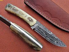 Union Knives Custom Hand Made Damascus Steel Knife With Sheep Horn Handle.