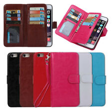Magnetic Filp Cell Phone Cover Case Wallet Purse Card Holder For iPhone Samsung