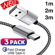 3x USB C Kabel Sync Ladekabel Datenkabel 1m 2m 3m Meter Schnellladekabel kurz