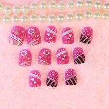 Purple Pink White Lace Daisy Heart Fake Nails Square Head Short False Nail Z359