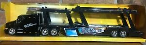 PETERBILT MODEL 387 CAR CARRIER DIE CAST BLACK FAST & FURIOUS
