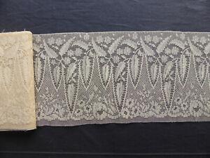 LARGE DENTELLE ANCIENNE DECOR VEGETAL-Début du 20ème-14x410cm