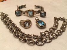 Sterling Silver Rope design and Blue Topaz 5 piece Set