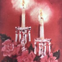 Vintage Mid Century Christmas Greeting Card Red Roses Candle Crystal Candlestick