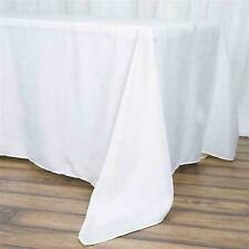 "10 Pk White 72x120"" Polyester Rectangle Seamless Tablecloth Wedding Party"