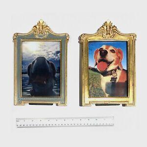 "Pair of Wood Gold Gilt Photo Frames - 5x7"""