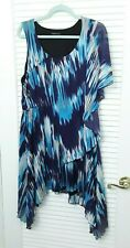 BCBG MaxAzria Tye Dye Design Dress High Low Blue Size XL