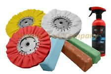 7pc Buffing Kit Wheel & Polishing Aluminum Ultra Shine Compound Set w/ Rebel Wax