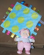 TAGGIES BABY GIRL *Lot of 2*: Mary Meyer Plush DOLL & LOVEY Polka Dot BLANKET