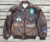 Vintage G-III GLOBAL IDENTITY Patches Brown Leather Flight Bomber Jacket Men's M