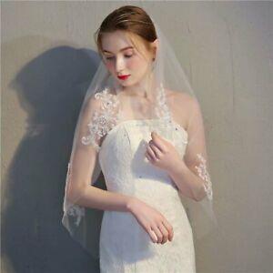 UK New Lace short Wedding Veil 1T Ivory / whiteTulle Elbow Bridal veil +Comb AN