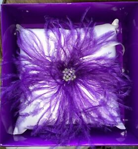 STUDIO HIS & HERS RING PILLOW NEW IN BOX PURPLE/VIOLET FEATHERS