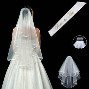 White Double Layer Bridal Wedding Veil, Hen Party Favors, Bachelorette Veil